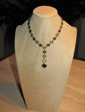 Y-shaped necklace; green beads, gold tone, rhinestone