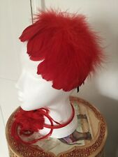 RED  FASCINATORS  X 2 BNWOT ONE FEATHERS.