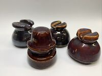 Lot of 4  Vintage Glazed Ceramic Brown Clay Electrical Insulators #7