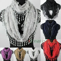 Fashion Womens Rose Floral Tulle Lace Trim Tassel Soft Ladies Infinity Scarf New