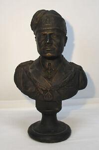 "Vintage Cast Iron 12"" Bust Benito Mussolini In Uniform WWII Era yqz"