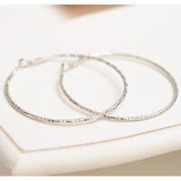 Fashion Simple Silver Earrings Women Lady Bamboo Pattern Big Circle Ear Stud