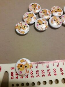 12 dog wood buttons for crafting