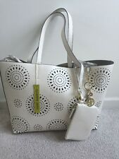 NWT Gianni Bini  White/gold Tote Cut Out Purse Circle Perforations Coin Purse