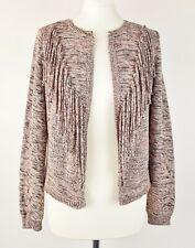 M&S Per Una Pink Black Cotton Open Front Tassel Front Western Cardigan Size 8