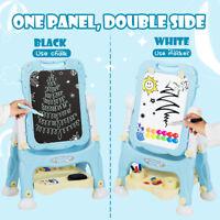 Kids Art Easel Set White Black Board Double Sided Magnetic Chalk w/Tray Blue