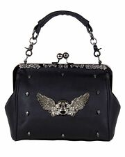 GOTHX SKULL HEAD WING Oversize Purse Ladies Handbag Punk Rock Goth Gothic PU Bag