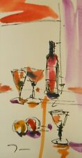 "JOSE TRUJILLO ORIGINAL Watercolor Painting SIGNED Small 3x6"" Martini Bar Liquor"
