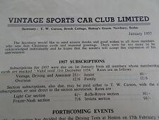1957 Vintage Sports Car Club Ltd Circular Memo Subs Events Trophies Heston Tests