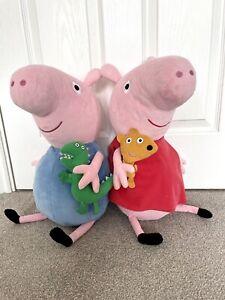 2 Large Peppa Pig Characters, Fun Peppa & George Large Soft Toys