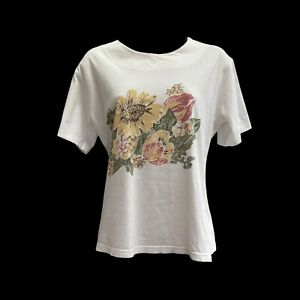 Vintage 80s T-shirt Top 10 12 UK MIA CASSARA Cream Cotton Cottagecore Floral