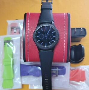 Samsung galaxy Gear S3 Frontier sm-r765t 46mm  black smartwatch red leather box
