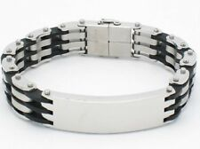 PLATINUM STEEL BLACK RUBBER ID LINK DESIGN BRACELET NIB