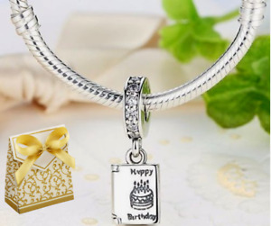 925 Silver Sterling Happy Birthday open card Celebration Dangle charm +gift box