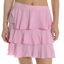 L NEW MIDI Anthropologie Pink Tiered Raw Mini-Skirt Rhumba Jersey Elastic Waist