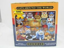 "DOWDLE JIGSAW PUZZLE CATS AROUND THE WORLD 16""X20"" IN BOX W/ POSTER OVER 500 PCS"