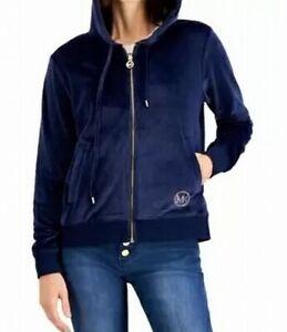 Michael Kors Womens Sweater Navy Blue Size Large L Full Zip Velour $110 080