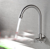 Wall Mount Kitchen Sink Tap Single Cold Water Swivel Spout Tap, Stainless Steel