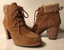 UGG ANALISE WOMENS CHESTNUT BROWN SUEDE LEATHER ANKLE BOOTS 9.5 NEW