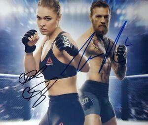Conor McGregor & Ronda Rousey 2X Signed 8x10 Photo W/ Holo COA UFC