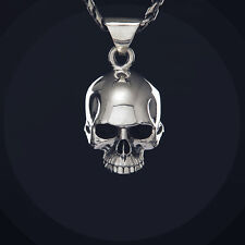 Sterling Silver Skull Pendant Hidden Space inside Big & Heavy Rock Biker Goth