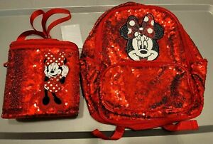 Disney Store Minnie Mouse Red Sequin Backpack Insulated Lunch Box Bag Set NWT