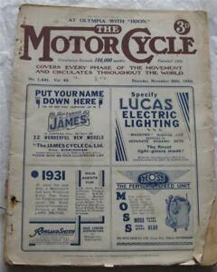 Motor Cycle 20 Nov 1930 Motorcycle Magazine Olympia with Ixion