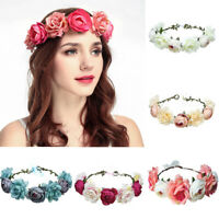 Qu_ Women Artificial Flowers Headband Hair Band Garland Wreath Beach Party Beamy