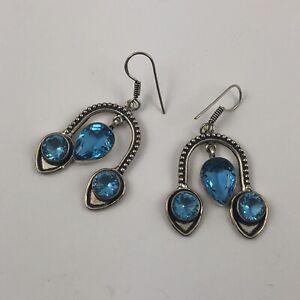 """Blue Topaz 925 Sterling Silver Earrings Jewelry 1 1/2"""""""