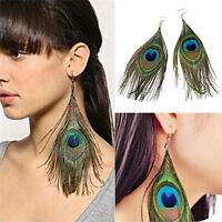 Fashion Women's Assorted Color Peacock Natural Feather Earrings Drop Earring SEA