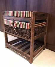 Storage Bench Footstool Wicker Basket Ottoman Shoe Rack Shelf Cushion Wooden