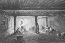 INDIAN House Estufa Interior New Mexico by Cpt Eastman - 1854 Antique Print