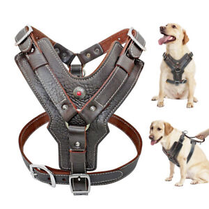 No Pull Pet Dog Harness Heavy Duty Genuine Leather Control Vest & Handle XL-3XL