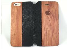 Rose Wood & Genuine Leather Flip Case IPhone 6/6s Plus Large iPhone Wallet Cover