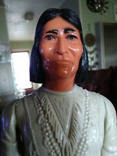 """VINTAGE TOY 12"""" HIGH 1967 MARX INDIAN TONTO ARTICULATED POSEABLE DOLL FIGURE"""