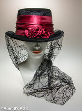 Victorian Gothic Rose Top Hat Ladies Blk Velour & Burg. Rose Spider Web Lace Hat