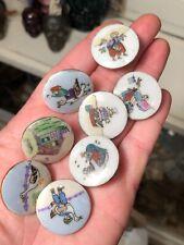 Set of 8 Vintage 1950's Ceramic Lois Calkins Mother Goose Nursery Rhyme Buttons