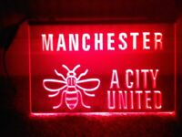 MANCHESTER (& BEE) A CITY UNITED - Red Sign Light Advertisement Neon Signage Ad