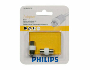 PHILIPS FEMALE SOCKET COAX ADAPTER TWIN PACK - RETAIL PACKED - TV AERIAL ADAPTER