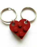 Dark Red Lego Heart Keychain Set Couples His + Her's Lego Keyring Set
