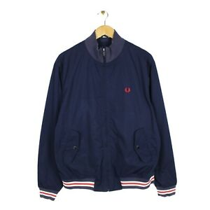 Fred Perry Mens Navy Blue Bomber Full Zip Modern Jacket Casual 80s - Size L
