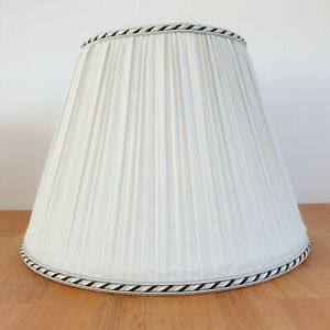 Vintage Pale Blue Pleated Fabric Lampshade / Ceiling Light Shade - 31cm Diameter