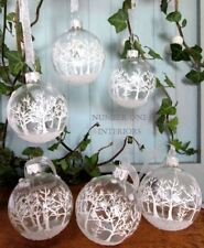 Christmas frosted glass baubles white trees & organza ribbons boxed set of 6