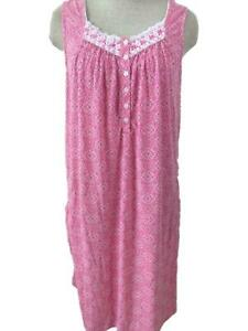Secret Treasures nightgown size M 8 10 sleeveless pink floral soft fabric pocket