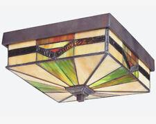 Tiffany Style Exterior Outdoor Flush Mount Ceiling Light Lighting Fixture BRONZE
