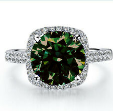 2.48ct i2-BROWN GREEN WHITE MOISSANITE DIAMOND ENGAGEMENT .925 SILVER RING 7.5