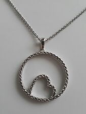 Sterling Silver Necklace w Circle & Heart Pendant. Small Genuine Diamond
