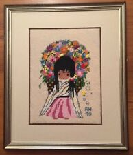 Finished Needlepoint FLOWER GIRL Ted DeGrazia Wool FRAMED AWARD WINNER