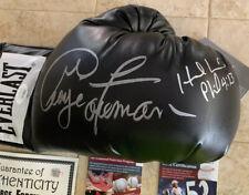Everlast Black George Foreman / Evander Holyfield Autographed Boxing Glove JSA