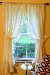 Vintage JCPenney Home Priscilla Curtains 2 PAIRS 4 PANELS Ruffled CURTAINS USA